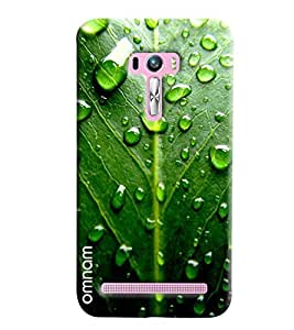 Omnam Green Leaf Effect With Water Drops Printed Designer Back Cover Case For Asus Zenfone Selfie