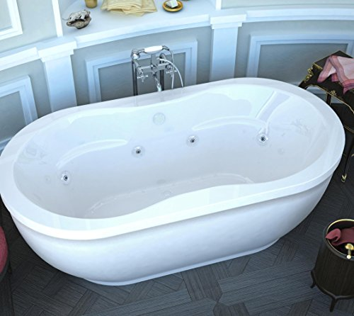 Spa World Venzi Vz3471ad Velia Oval Air & Whirlpool Bathtub, 34x71, Center Drain, White (Whirlpool Jet Parts compare prices)