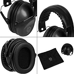 EAREST Hearing Protection Ear Muffs, NRR 20dB Professional Noise Reduction Safety Earmuff/Ear Defenders/Ear Protector for Shooting/Hunting/Yard Working Fits Adults to Kids (Color: Matt Black)