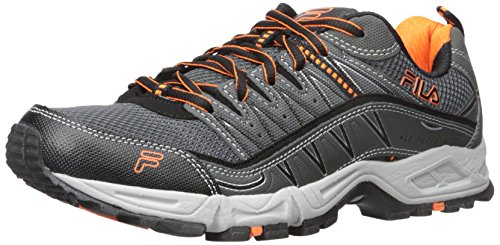 Fila Men's AT Peake Trail Running Shoe, Castle Rock/Black/Vibrant Orange, 10.5 M US