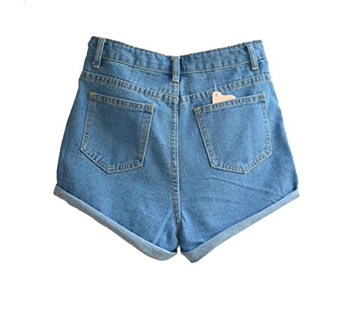 Juniors's Denim Vintage Retro High Waist Jeans Short 1