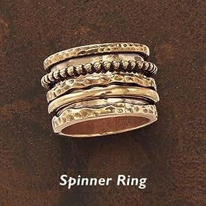 antiqued bronze multi spinner band ring