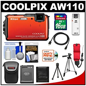Nikon Coolpix AW110 Shock & Waterproof GPS Wi-Fi Digital Camera (Orange) with 16GB Card + Battery + Case + Float Strap + HDMI Cable + Tripods + Accessory Kit