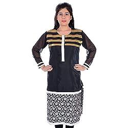 Silkfab Women's Chanderi Kurti (SF62015OR1051_Black White_Large)