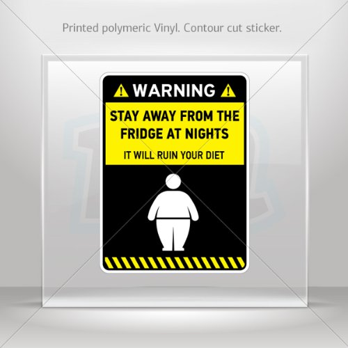 Decals Decal Warning Funny Stay Away From Fridge At Nights Atv Weatherproof Sports Car 0500 X4Xw9 front-618710