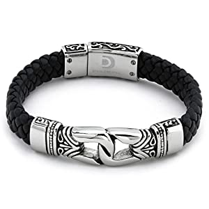 Braided Black Leather Men's Bracelet Stainless Steel