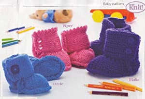 Baby Ugg Boots Knitting Pattern: To fit age Birth/3months, 3months/6months, 6...