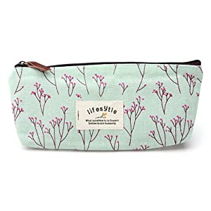Countryside Flower Floral Pencil Pen Case Cosmetic Makeup Bag Blue