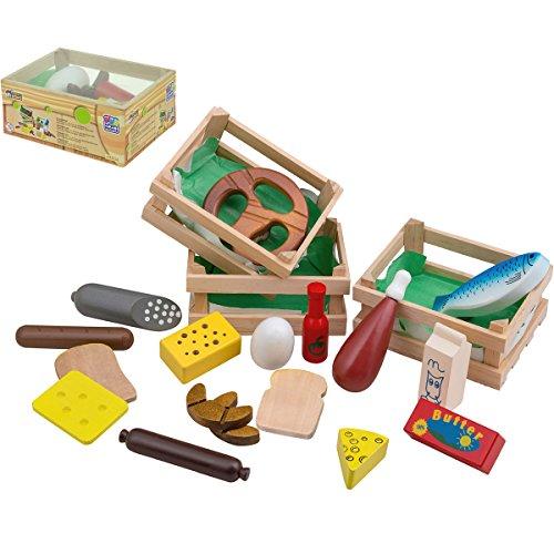 Holzkiste mit verschiedenen Lebensmitteln, 14