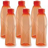 Cello Texas Plastic Pet Bottle, 1 Litre, Set Of 6, Orange