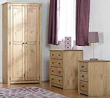 Panama 4 Piece Natural Wax Pine Bedroom Set Wardrobe Chest & 2 x Bedside