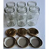 Pure Source India Good Quality 500 Gm Round Jar Set Of 6 Jar ,with Rust Proof Metal Golden Color Cap Suitable...