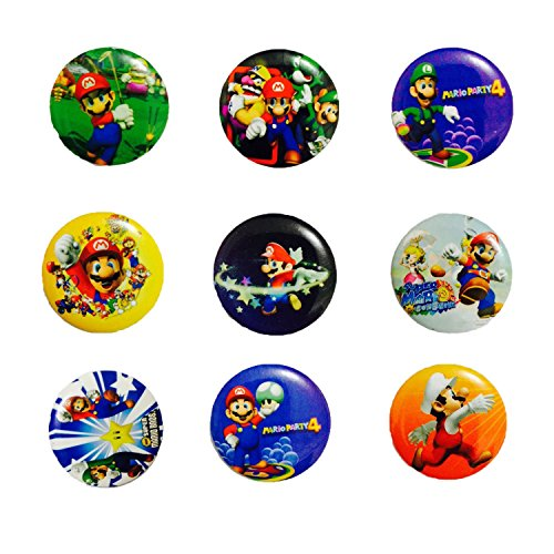 Super Mario 1 1/4 Inch Badge Button Pin Pinback Button Set, 9-pcs