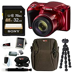 Canon PowerShot SX420 IS Digital Camera w/ Sony 32GB SD Card & Advanced Accessory Bundle