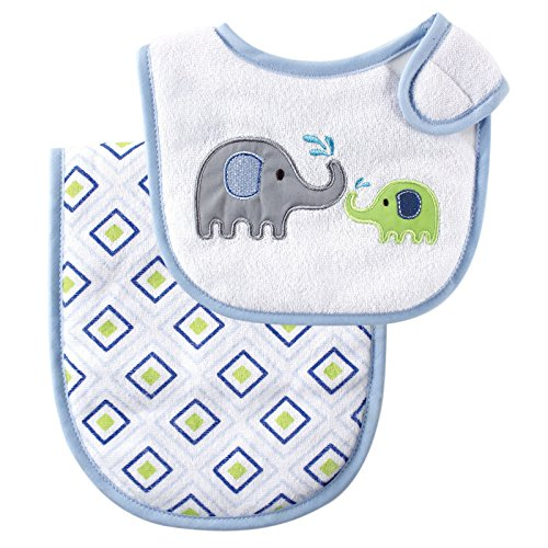 Luvable Friends Bib and Burp Cloth Set, Blue Elephant