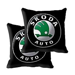 meSleep Skoda Car Cushion Covers (12x12) with Filler- 2 Pc