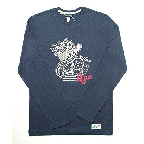 T-shirt Vintage Manica Lunga Giacomo Agostini, Colore: Blu, Taglia: XL