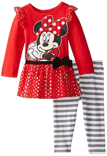 Disney Baby Girls' 2 Piece Fashion Top with Printed Mesh Fold and Legging Set, Red, 24 Months