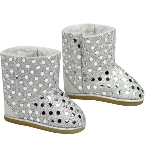 "Doll Boots Silver Sequins, 18 Inch Doll Shoes Fits 18"" American Girl Dolls & More! Silver Sequin Gray Doll Boots"