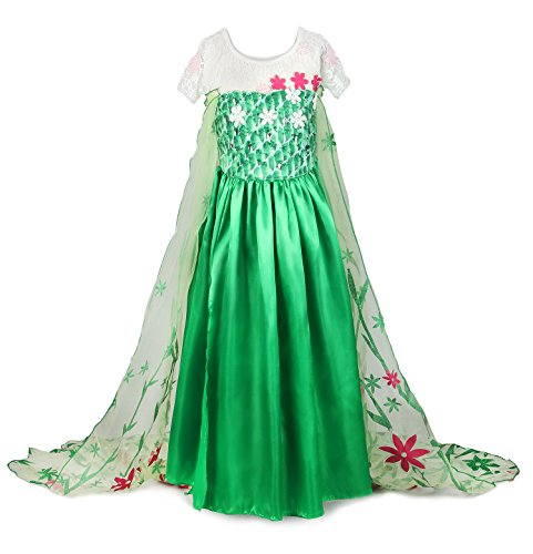 JerrisApparel New 2015 Princess Elsa Party Dress Costume With Flower Cape