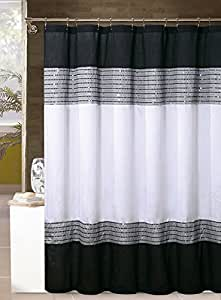 White Black And Silver Gray Shower Curtain Sequins 72in X 72in Home Kitchen