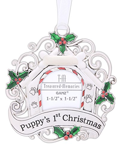 Silver Puppy's First Christmas Photo Ornament