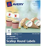 Avery Textured Scallop Round Labels, White, 2.5-Inch Diameter, Pack of 27 (80500)
