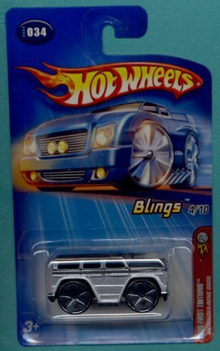 Hot Wheels 2005 First Editions 1:64 Scale Blings Silver Mercedes Benz G500 Truck SUV Die Cast Car #034 - 1