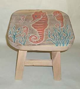 Seahorse Hand Carved and Hand Painted Wooden Foot Stool