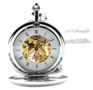Silvertone Brass Skeleton Pocket Watch Mechanical Hand Wind Roman Numerals Full Hunter Steampunk Look