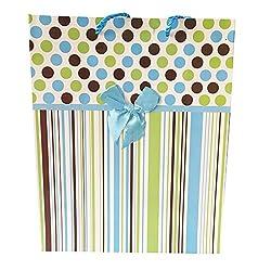 Blue Pulka Dots & Strips Gift Bag (Set of 2)