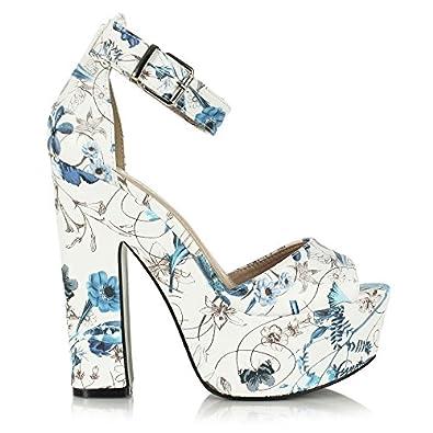 Sandales bleues plateforme talon de 10cm 37: Chaussures