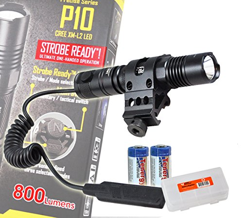 "Nitecore P10 800 Lumens Tactical Led Flashlight /W ""Strobe Ready"" Rsw2 Remote Pressure Switch, Offset Rail Mount, 2X Tenergy Cr123A Batteries & A Lumen Tactical Battery Box"