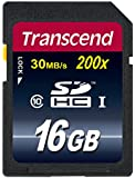Transcend 16GB SDHC Class 10 Flash Memory Card Up to 30MB/s (TS16GSDHC10)