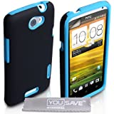 HTC One X Case Dual Combo Silicone Cover Black / Blue With Screen Protector