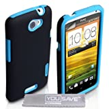 HTC One X Case Dual Combo Silicone Cover Black / Blue With Screen Protectorby Yousave Accessories