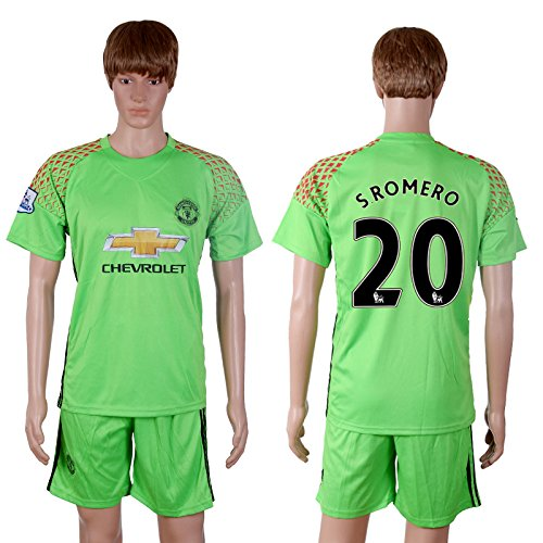 Mens Manchester United 20 Sergio Romero Football Soccer Jersey For New Season In Green Kit 2016-2017 XXL