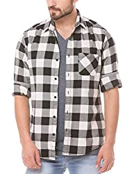Prym Men's Casual Shirt (8907423014268_2011507703_Large_Black and Ecru)