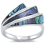 New Abalone Shell Design .925 Sterling Silver Ring Size 9
