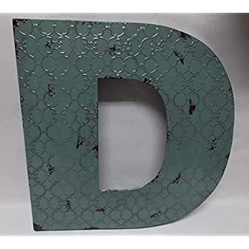 "Fun 20"" x 20"" x 2"" All Metal 3-D Industrial BLUE Metal Wall LETTER "" D "" Wall Art Decor"