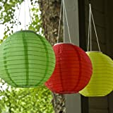 "Set of 3 Oriental Style 12"" Solar Lanterns in Candy Red, Yellow and Green with Triple LED"