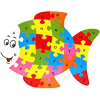 Zerowin Wooden Toys Cute Animals Shaped Alphabet Puzzle Educational Learn Letters Numbers Jigsaw Gifts,Fish