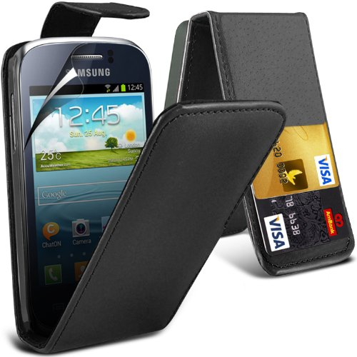 ( Black ) Samsung Galaxy Young 2 Gm-130 Premium Faux Credit / Debit Card Slot Leather Flip Skin Case Cover & Lcd Screen Protector Guard By Fone-Case