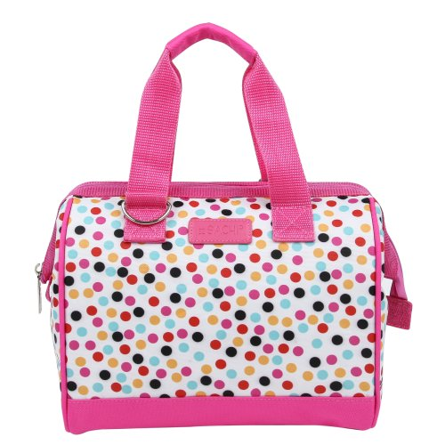 Sachi Fun Prints Insulated Lunch Tote, Style 34-222, Pink Confetti