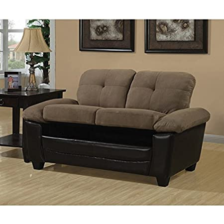 Brown Micro-fibre / Leather Look Love Seat with Storage