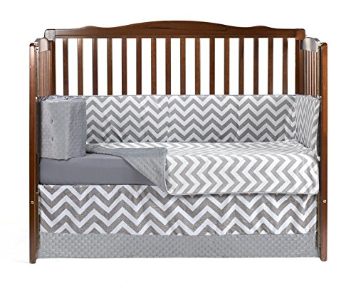 Baby Doll Minky Chevron 4 Piece Crib Bedding Set, Grey