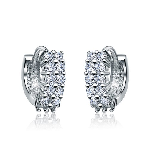 Elegant Sterling 925 Silver Huggie Earrings Featuring Double Channel Set Round CZ Diamonds - Incl. ClassicDiamondHouse Free Gift Box & Cleaning Cloth