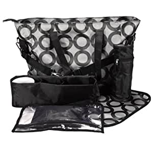 6 PCS Multi Function Black Fashion Baby Diaper Nappy Changing Travel Bags Large Sizes