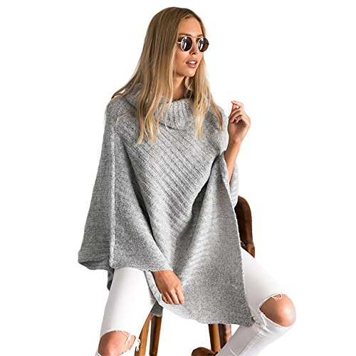 Doreen Womens Plus size Turtleneck Poncho Sweater Cowl Pullover Knitwear Grey (Cowl Sweater Plus Size compare prices)