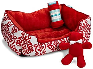 Waverly 3-Piece Pet Bed Gift Set, Lipstick